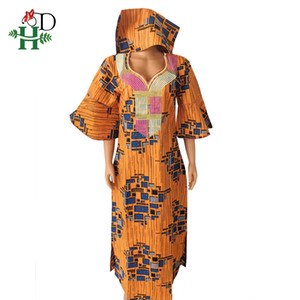 H&D African Print Wax Dresses Women Cotton Boubou Femme Traditional Maxi Dress With Headtie Robe Africaine Hippie 2020 S89