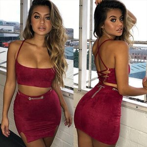 Hirigin Women 2 Piece Sleeveless Bodycon Skirt Outfits Sexy Party Backless Crop Top Mini Bandge Skirts