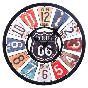 34cm Euramerican Retro Route 66 Silent Wall Clock Colorful Clocks For Home Decor Wall Clock Quartz Modern Design 2020 new