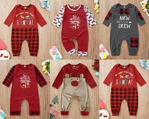 Bebek Kız Erkek Tulumlar İlk Noel Kırmızı Noel Baba Elk Baskılı Izgara Uzun Kollu Kardan Adam Doğum Romper ile Pocket Ins Yeni 2020
