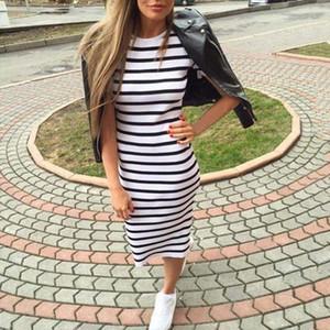 Summer Women Dress Short Sleeve Round Neck Slim Fit Bodycon Dress Striped Side Split T Shirt Womens Dresses