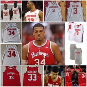 Özel Ohio State Buckeyes Basketbol Forması # 34 Kaleb Wesson 3 DJ. Karton 32 EJ. Liddell Ibrahima Diallo Zed Anahtar Eugene Brown II Ohio Stat