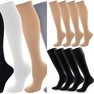 Pantalones apretados de las polainas al aire libre para adultos adultos conformadora por compresión progresiva de la presión medias elásticas contra calcetines varices CpjdB