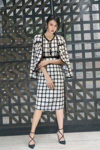 2020 Christmas wholesale runway ins wholesale runway new Crew neck coats+Button Sleeveless Zipper Plaid suits