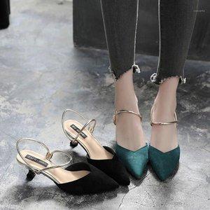 Sandalias para mujer Verano Nuevo Zapatos de tacón alto de las mujeres Puntos de tacón de aguja de las mujeres Palabra de tacón de tacón negro Black Cat Sandals mujeres1