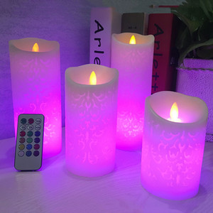 Dancing Flame LED Candle With RGB Remote Control,Wax Pillar Candle For Wedding Decoration Christmas Candle Room Night Light T200108