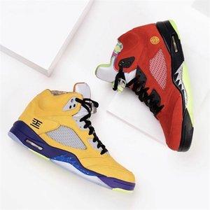 2020 nueva llegada Qué El 5 zapatillas de baloncesto para hombre CZ5725-700 Varsity Maíz Fantasma Verde Solar Orange 5s hombres entrenadores deportivos zapatillas de deporte