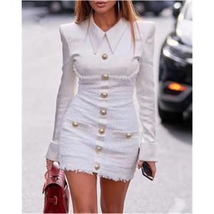 Bayanlar Blazer Elbise Moda Garp Trend Uzun Kollu Yaka Skinny Artı boyutu Kısa Etek Tasarımcı Kadın Sonbahar Yeni Casual İnce Elbise