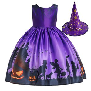 Halloween Theme Witch Costume Party Dresses With Hat For Kids Girls Fit Size 100cm~150cm Girl's Cosplay Clothing