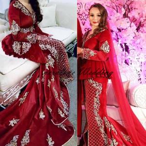 Manga larga Marroquí Caftan Vestido de noche Vestido de noche Mermaid Cuello en V apliques Encaje Vestidos de fiesta Formal Party Bats