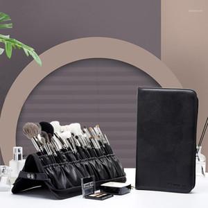Rownyeon marca maquiagem escova saco de armazenamento saco de armazenamento escova ferramenta de maquiagem dobrável grande capacidade vertical zíper1