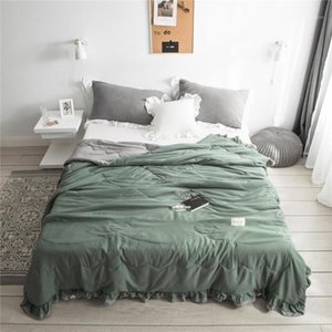 Princess style Pure Color Summer Quilt Bedspread Blanket green Comforter soft Bed Cover Twin full Queen Quilting lace bedclothes1