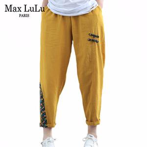 Max Lulu Chinesische Mode-Art 2020 Sommer Damen Vintage Streetwear Womens Casual Patchwork Hosen Weibliche Blumen-Leinenhose 1017