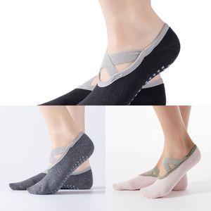 Yoga Kreuz Ballett-Tanz-Boot board Yoga rutschfeste Bindung offen zurück Fußbodensocken Sportboot Socken Iw8Qj