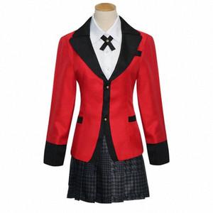 Cosplay Costumes Hot Cool Anime Kakegurui Yumeko Jabami filles Uniforme scolaire japonais Ensemble complet veste + Shirt + Jupe + Bas + Tie JcVt #