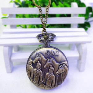 Wholesale New Styles Bronze Color Steel Souvenirs Quartz Vintage Pocket flip student Xi'an Terracotta Warriors Tourist Attractions Good Gift