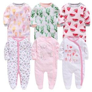 Honeyzone 6pcs recém-nascidos roupa do bebê menina cheia de algodão de manga ropa recien nacido corpo bebe desenhos animados Imprimir Infant Boy Macacões Q1113