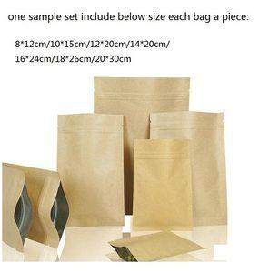 7 tailles, sac en papier kraft d'emballage Collation Pouches papier kraft de qualité, sacs de stockage sac échantillon, 7pcs