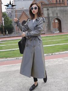 Leiouna Uzun Tam Rahat Victoria Siper 2021 Moda Kadınlar Ceket Su Geçirmez Bukalemun Pamuk Femme Kruvaze Lady Coat