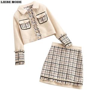 Womens Oficina Tweed Traje de chaqueta y falda formal de 2 piezas conjunto uniforme de otoño de negocios Equipo Del Invierno Mujeres juegos de falda Casual