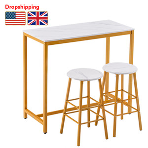 Stock in US UK PVC Marble Simple Bar Table Round Bar Stool Golden Paint Dropshipping (One Table and Two Stools)
