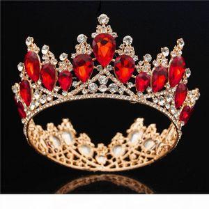 Baroque Gold Bride Crown Queen King Big Crown Tiara Prom Diadem Wedding Hair Jewelry Tiaras And Crowns Headband Hair Ornaments Y19061503