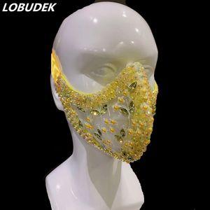 Shiny Strass Mask Cristalli Pietre Maschere prestazioni Accessori Halloween Party Bar Nightclub Masked Singer Dancer Ornament Q9UM