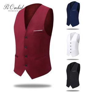 PEORCHID Casual Men's Vest Red Blue Best Man Gift Groom Business Men's Waistcoat Gilet Homme Vintage Wedding Suit Vest 201021