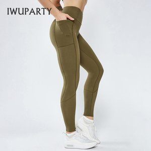 Iwuparty Alto Cinturón Patchwork Leggings con bolsillo Scrunch Butights Entrenamiento Fitness Legging Jogging Sweetpants transpirable