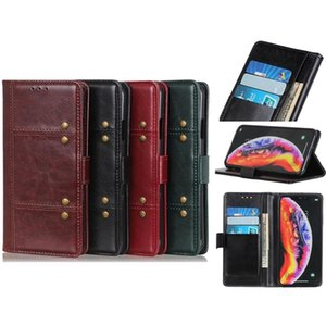 PU Leather Wallet Case Flip Cover with Rivet for Iphone 11 X 7 8 Multifunction Case Samsung HUAWEI Moto Four Colors Optional