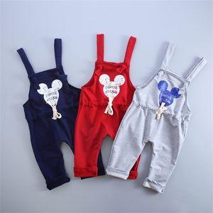 Spring Autumn Cotton Cartoon Pattern Children Boys Girls Fashion Leisure Camisole Pants 0-4 Years Kid Overall Long Pants 201128