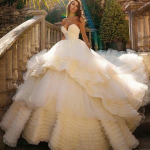 2021 Puffy Wedding Dresses Tiered Ruffle Sweep Train Plus Size A Line vestido de novia Lace Appliqued Vintage Bridal Gowns
