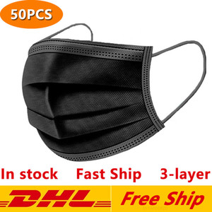 3-Layer Protection Shipping Masks Black Disposable Face DHL Free Mask with Earloop Mouth Face Sanitary Outdoor Masks