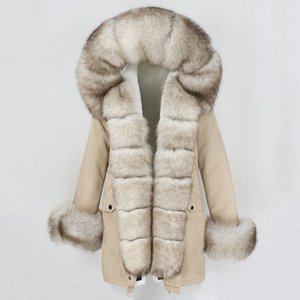 OFTBUY 2020 Fashion Winter Jacket Women Real Fur Coat Natural Real Fox Fur Collar Loose Long Parkas Big Fur Outerwear Detachable A1112