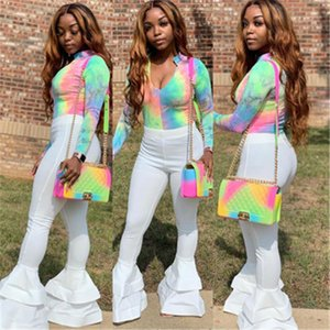Dye Tops Long Pants Suits Designer Female Slim Casual Deep V Neck T-shirt Suits Clothing Women Flare Pant Sets Fashion Trend Long Sleeve Tie