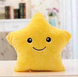 1PCS 38CM Led Light Pillow Luminous Pillow Christmas Toys Plush Pillow Hot Colorful Stars kids Toys Birthday Gift