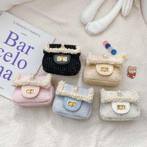 Baby Girls Princess Handbags INS Kids Plaid Pearl Lace Messenger Bags Children Girl Single Shoulder Accessories Change Purse S887