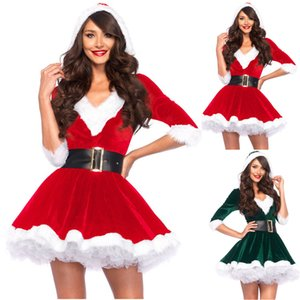 Fashion Women Half Sleeve Solid Popular Ladies Santa Claus Xmas Theme Costume Cosplay Outfit Waistbelt Fancy Christmas Dress