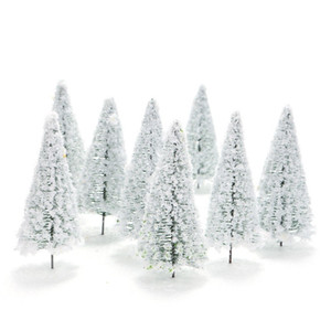 10pcs Mini Plastic Green Cedar Trees Scale Architectural Models Train Railways Landscape Scenery Layout Garden Decoration Tree Toys Scale: 1