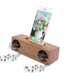 New Design High Quality Mini Portable Wood Bamboo Speaker Universal Phone Stand Wholesale Wooden Mobile Cell Phone Holder Wooden Speaker