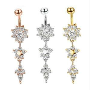 2020 NEW Indian Dangle Belly Bars Belly Button Gold Rings Belly Piercing Crystal Flower Body Jewelry Navel Piercing Rings GD333