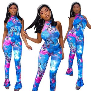 2021 New Spring Holidays Women Printing Rompers High Neck Sleeveless Bell Bottom Sexy Party Jumpsuits Casual Lady Clothes