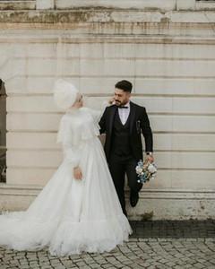 Muslim White Wedding Dresses With Wrap High Neck Long Sleeve Sweep Train Appliques Lace Bridal Gowns vestidos de novia Plus Size L97