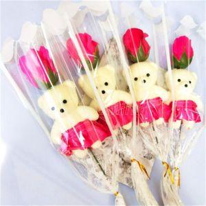 Único oso jabón flor oso simulación rosa soltero rama flor artificial para profesores Niños Regalos Día de San Valentín Regalos