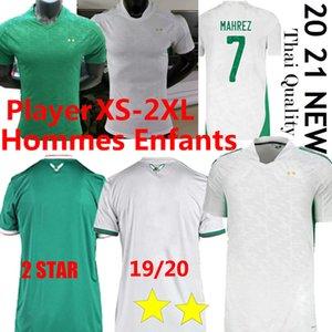 Argélie Jogador de Jogador de Futebol Jerseys 2020 21 Home Maillot de Futebol Camisa Mahrez Brahimi Bennacer 19 20 2 estrelas Argélia Homens Kits Kits