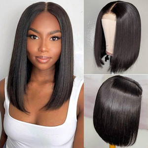 Ishow 2x6 Bob Human Hair Lace Front Wigs Brazilian Virgin Hair Straight Human Hair Wigs for Women Pre Plucked Swiss Lace Closure Wig