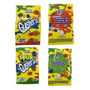 Welten dankest saure Gushers Arzneimittel Obst Snack 500mg Gusher-Taschen Tropische und saure tropische Aromen-Edibles Gummies Verpackung Mylar-Taschen