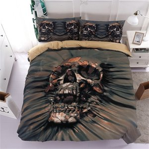 Fanaijia 3d Skull Bedding Sets queen size Sugar skull Duvet Cover Bed cool skull Print Black Bedclothes AU US bedline 1012