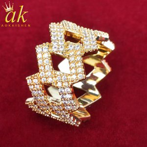 Men Ring Charm Gold Color Jewelry Hollow Out Copper Zircons Hip Hop Rock Street