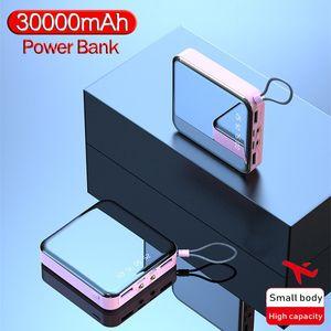 30000mAh Power Bank Mini Mirror Screen Portable Phone Charger LCD Digital Display Dual LED Lighting USB Powerbank for Smartphone